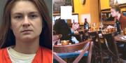 Till höger: Övervakningsbild från FBI visar Maria Butina tillsammans med en person som misstänks tillhöra rysk underrättelsetjänst. TT
