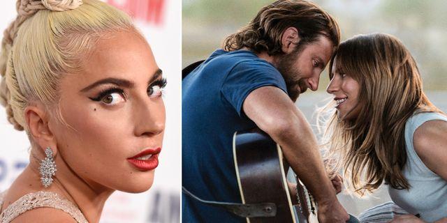 "Lady Gaga och Bradley Cooper i ""A star is born"". TT"
