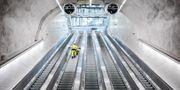 Interiör med rulltrappa från Citybanans pendeltågstation Stockholm City. Adam Wrafter/SvD/TT / TT NYHETSBYRÅN