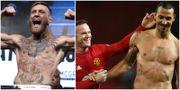 Conor McGregor. Till höger: Zlatan Ibrahimovic kramas om av lagkamraten Wayne Rooney. TT