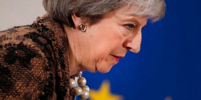 Theresa May i Bryssel i fredags.  Alastair Grant / TT NYHETSBYRÅN