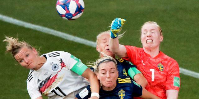 Hedvig Lindahl under VM-kvartsfinalen mot Tyskland. BENOIT TESSIER / BILDBYRÅN