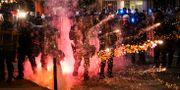 Poliser vid måndagens protester St Louis. Colter Peterson / TT NYHETSBYRÅN