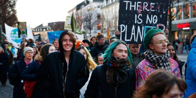 """Klimatdemonstrationen """"Fridays for future"""" tågar genom centrala Göteborg. Thomas Johansson / TT / TT NYHETSBYRÅN"""