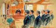 Teckning från rättegången. Domaren T.S. Ellis III längst bak i bilden. Dana Verkouteren / TT / NTB Scanpix