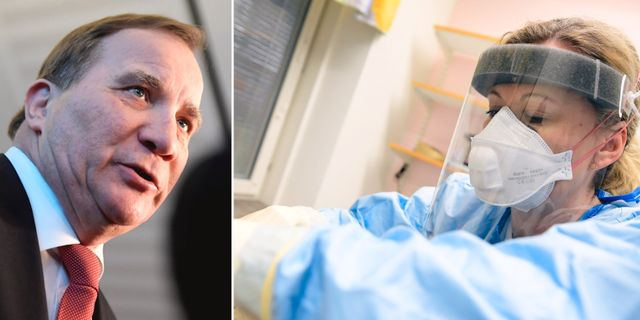 Stefan Löfven/Infektionsklinik i Kalmar. TT