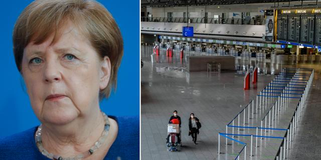 Förbundskansler Angela Merkel/Flysplats Frankfurt.  TT
