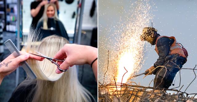 Arkivbilder på en frisör och en svetsare. TT