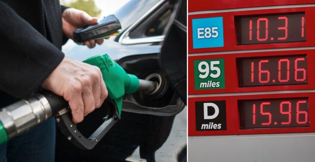 Många svenskar tycker att bensinen är för dyr. TT
