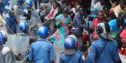 Anhängare av oppositionen i Zimbabwe omringas av polis. Tsvangirayi Mukwazhi / TT NYHETSBYRÅN