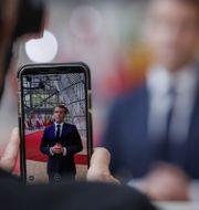 Emmanuel Macron i Bryssel.  Olivier Hoslet / TT NYHETSBYRÅN