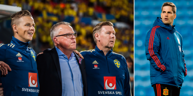 Janne Andersson i mitten till vänster, och Spaniens förbundskapten Robert Moreno till höger.  Bildbyrån.