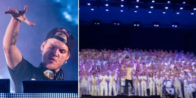 """Tim """"Avicii"""" Bergling/jättekören framför """"Wake me up""""."""