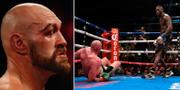 Tyson Fury i samband med nattens fajt/Fury efter att ha blivit knockad till marken av Deontay Wilder i förra matchen. Bildbyrån