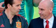 Arkivbild: Julen Lopetegui och spanska fotbollsordföranden Luis Manuel Rubiales JAVIER SORIANO / AFP