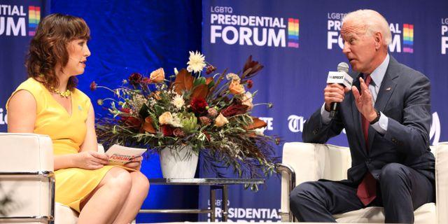 Joe Biden i samband med en intervju i Iowa i går. SCOTT MORGAN / TT NYHETSBYRÅN