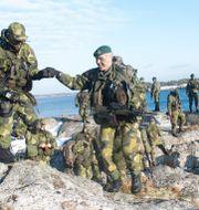Soldater ur 203:e Amfibieskyttekompaniet övar med sina stridsbåtar i Stockholms skärgård år 2016. Fredrik Sandberg/TT / TT NYHETSBYRÅN