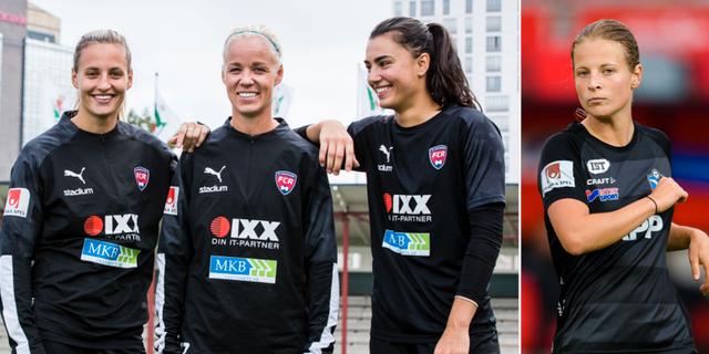 FCR:s Nathalie Björn, Caroline Seger, Zećira Mušović och Växjös Anna Anvegård. Bildbyrån