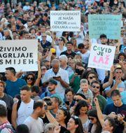 Demonstranter i Zagreb. TT NYHETSBYRÅN