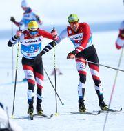 Dominik Baldauf och Max Hauke under sprintstafetten i VM. CH. KELEMEN / GEPA PICTURES