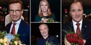 Partiledarna efter SVT:s partiledardebatt inför valet. TT