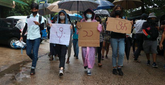 Demonstration mot militärkuppen. TT NYHETSBYRÅN