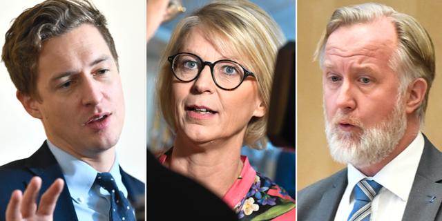 Emil Källström (C), Elisabeth Svantesson (M) och Johan Pehrson (L). TT NYHETSBYRÅN