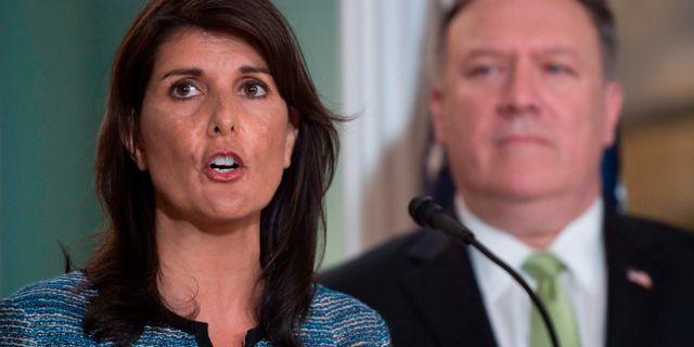 FN-ambassadören Nikki Haley och utrikesminister Mike Pompeo ANDREW CABALLERO-REYNOLDS / AFP