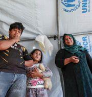 33-åriga Nihaya Issa i tältlägret. SAFIN HAMED / AFP
