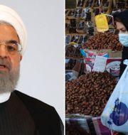 Hassan Rouhani/Kvinna med munskydd i Teheran TT/AP