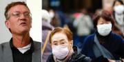 Anders Tegnell och kvinnor i Tokyo efter att smittan bekräftats också i Japan. TT