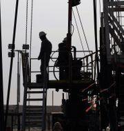 Illustrationsbild: Arbetare vid en oljerigg i Persiska golfen.  Hasan Jamali / TT NYHETSBYRÅN