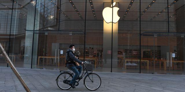 Arkivbild: Den stängda Applebutiken i Peking GREG BAKER / TT NYHETSBYRÅN