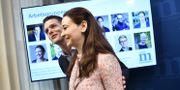 Christofer Fjellner och Alice Teodorescu presenterar direktiv till Moderaternas nya idéprogram under en pressträff på partikansliet i Stockholm. Henrik Montgomery/TT / TT NYHETSBYRÅN