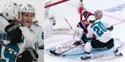 Lucas Wallmark kramar om NHL-legendaren Joe Thornton efter sitt mål. TT
