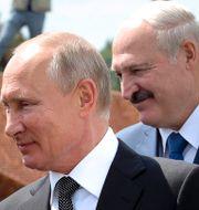 Vladimir Putin och Aleksandr Lukasjenko. Mikhail Klimentyev / TT NYHETSBYRÅN