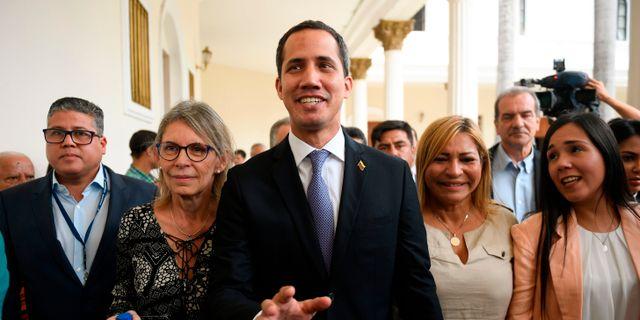 Venezuelas oppositionsledare Juan Guaidó.  FEDERICO PARRA / AFP
