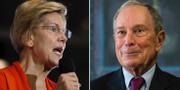 Elizabeth Warren och Michael Bloomberg. TT/AP