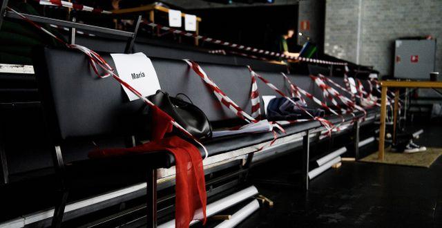 Avspärrade sittplatser vid en av Dramatens scener. Arkivbild. Erik Simander/TT / TT NYHETSBYRÅN
