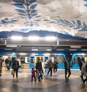 Tunnelbanetåg på T-centralen. Arkivbild. ALI LORESTANI / TT / TT NYHETSBYRÅN