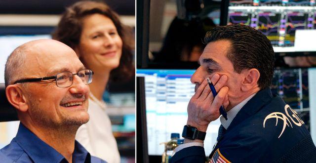 Börsmäklare i Frankfurt och New York. TT