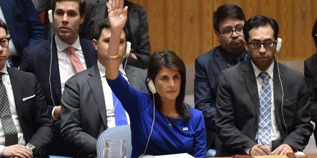 Nikki Haley i FN:s säkerhetsråd.  HECTOR RETAMAL / AFP