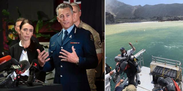 Nya Zeelands premiärminister Jacinda Ardern och poliskommissionären MIke Bush. TT