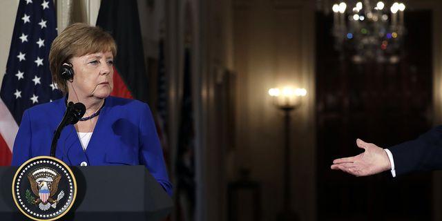 Arkivbild: Tysklands Angela Merkel under möte med Donald Trump. TT