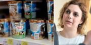 Vänster: Ben & Jerry's-glass. SD:s migrationspolitiska talesperson Paula Bieler till höger. TT