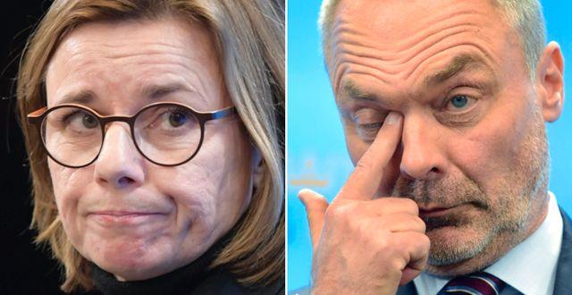 Isabella Lövin (MP) och Jan Björklund (L).  TT