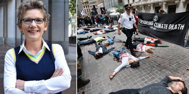 Mary Daly, klimatprotester på Wall Street. TT