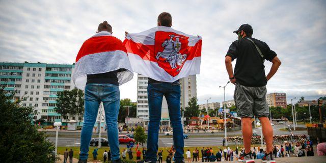 Illustrationsbild/Protester i Minsk, Belarus.  TT NYHETSBYRÅN