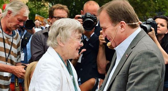 Lisbeth Palme och Stefan Löfven.