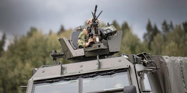 Förband ur Skaraborgs regemente. Björn Larsson Rosvall/TT / TT NYHETSBYRÅN